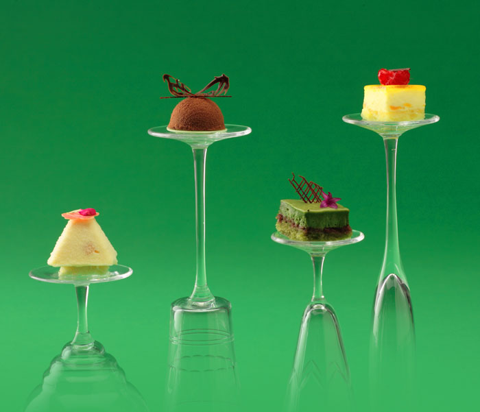 Our very small high-tea style cakes floating on glasses